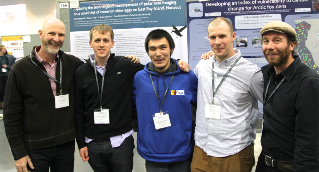 From left to right: Grant Gilcrest of Environment Canada, Patrick Jageilski, Jupie, Cody Dey, and Pierre Legagneux, a collaborator at the Centre National de la Recherche Scientifique (CNRS) in France.